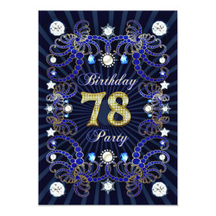 78th Birthday Party Invite With Masses Of Jewels