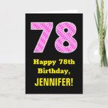 "[ Thumbnail: 78th Birthday: Pink Stripes and Hearts ""78"" + Name Card ]"