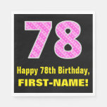 "[ Thumbnail: 78th Birthday: Pink Stripes and Hearts ""78"" + Name Napkins ]"
