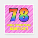 [ Thumbnail: 78th Birthday: Pink Stripes & Hearts, Rainbow # 78 Napkins ]