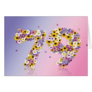 79.a tarjeta de cumpleaños con las letras floridas