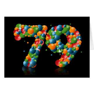 79.o cumpleaños con los números formados de bolas tarjeta de felicitación