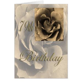 79.o cumpleaños feliz subió sepia tarjeta de felicitación