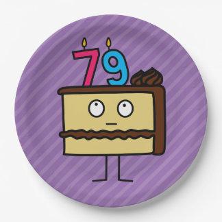 79.o Torta de cumpleaños con las velas Platos De Papel