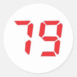79 setenta y nueve números digitales del etiqueta redonda