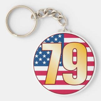 79 USA Gold Basic Round Button Keychain