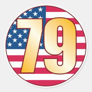 79 USA Gold Classic Round Sticker