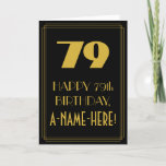 "[ Thumbnail: 79th Birthday ~ Art Deco Inspired Look ""79"" & Name Card ]"