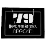 "[ Thumbnail: 79th Birthday ~ Art Deco Inspired Look ""79"" + Name Gift Bag ]"