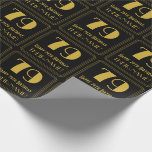 "[ Thumbnail: 79th Birthday ~ Art Deco Inspired Look ""79"", Name Wrapping Paper ]"