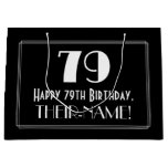 "[ Thumbnail: 79th Birthday: Art Deco Inspired Style ""79"", Name Gift Bag ]"