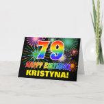[ Thumbnail: 79th Birthday: Bold, Fun, Fireworks, Rainbow 79 Card ]