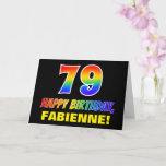 [ Thumbnail: 79th Birthday: Bold, Fun, Simple, Rainbow 79 Card ]