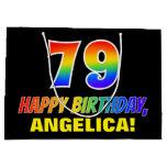 [ Thumbnail: 79th Birthday: Bold, Fun, Simple, Rainbow 79 Gift Bag ]