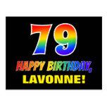 [ Thumbnail: 79th Birthday: Bold, Fun, Simple, Rainbow 79 Postcard ]