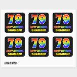 [ Thumbnail: 79th Birthday: Bold, Fun, Simple, Rainbow 79 Sticker ]