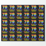[ Thumbnail: 79th Birthday: Bold, Fun, Simple, Rainbow 79 Wrapping Paper ]