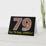 "[ Thumbnail: 79th Birthday - Brick Wall Pattern ""79"" W/ Name Card ]"