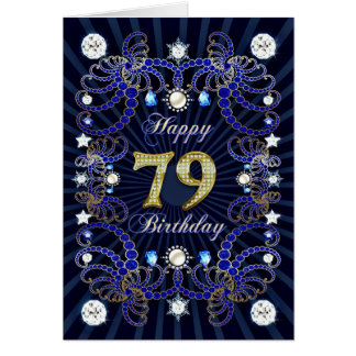 79th birthday card with masses of jewels
