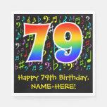 [ Thumbnail: 79th Birthday - Colorful Music Symbols, Rainbow 79 Napkins ]