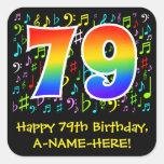 [ Thumbnail: 79th Birthday: Colorful Music Symbols, Rainbow 79 Sticker ]