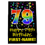 [ Thumbnail: 79th Birthday: Colorful Stars Pattern & Rainbow 79 Gift Bag ]