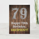[ Thumbnail: 79th Birthday: Country Western Inspired Look, Name Card ]
