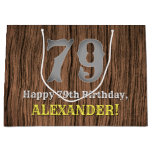 [ Thumbnail: 79th Birthday: Country Western Inspired Look, Name Gift Bag ]