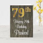 [ Thumbnail: 79th Birthday: Elegant Faux Gold Look #, Faux Wood Card ]