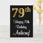 [ Thumbnail: 79th Birthday ~ Elegant Luxurious Faux Gold Look # Card ]
