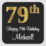 [ Thumbnail: 79th Birthday – Elegant Luxurious Faux Gold Look # Sticker ]
