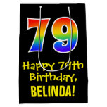 "[ Thumbnail: 79th Birthday: Fun, Bold, Colorful, Rainbow ""79"" Gift Bag ]"