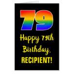 [ Thumbnail: 79th Birthday: Fun, Colorful, Happy, Rainbow # 79 Card ]