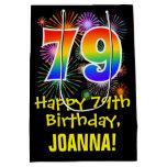 [ Thumbnail: 79th Birthday: Fun Fireworks Pattern + Rainbow 79 Gift Bag ]