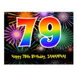 [ Thumbnail: 79th Birthday – Fun Fireworks Pattern + Rainbow 79 Postcard ]