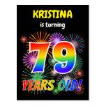 "[ Thumbnail: 79th Birthday - Fun Fireworks, Rainbow Look ""79"" Postcard ]"
