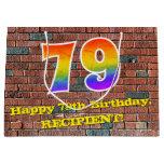 [ Thumbnail: 79th Birthday: Fun, Graffiti-Inspired Rainbow # 79 Gift Bag ]