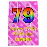 [ Thumbnail: 79th Birthday: Fun Pink Hearts Stripes; Rainbow 79 Gift Bag ]