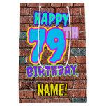 [ Thumbnail: 79th Birthday: Fun, Urban Graffiti Inspired Look Gift Bag ]