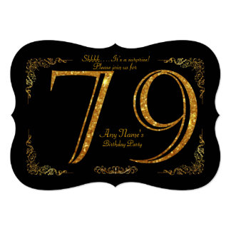 79th,Birthday party 79th,great Gatsby,black & gold Card