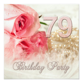 79th Birthday party invitation, roses and pearls Card
