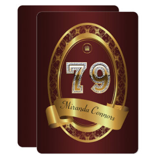 79th,birthday party woman man,elegant color card