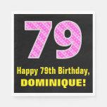 "[ Thumbnail: 79th Birthday: Pink Stripes and Hearts ""79"" + Name Napkins ]"