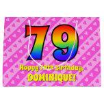 [ Thumbnail: 79th Birthday: Pink Stripes & Hearts, Rainbow # 79 Gift Bag ]