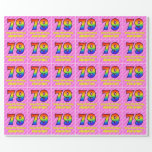 [ Thumbnail: 79th Birthday: Pink Stripes & Hearts, Rainbow # 79 Wrapping Paper ]