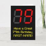 "[ Thumbnail: 79th Birthday: Red Digital Clock Style ""79"" + Name Card ]"
