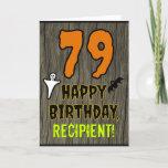 [ Thumbnail: 79th Birthday: Spooky Halloween Theme, Custom Name Card ]