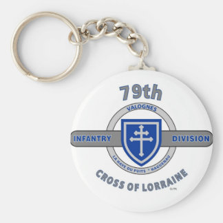 """79TH INFANTRY DIVISION """"CROSS OF LORRAINE"""" BASIC ROUND BUTTON KEYCHAIN"""