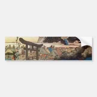 7. 藤沢宿, 広重 Fujisawa-juku, Hiroshige, Ukiyo-e Bumper Sticker