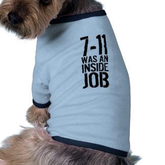 7-11 trabajo interior camiseta con mangas para perro